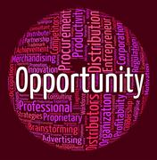 Stock Illustration of Opportunity Word Indicates Possibilities Opening And Words