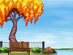 Willow tree by the river Stock Illustration