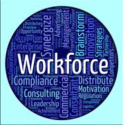 Workforce Word Shows Human Resources And Manpower Stock Illustration