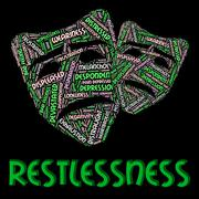 Restlessness Word Shows Ill At Ease And Edgy - stock illustration