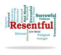 Stock Illustration of Resentful Word Represents In A Huff And Disgruntled