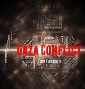 Gaza Conflict Indicates Wordcloud Fighting And Combat Stock Illustration