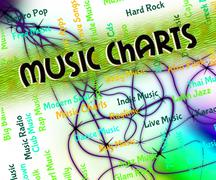 Music Charts Means Top Twenty And Hit - stock illustration
