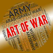 Art Of War Represents Military Action And Text - stock illustration