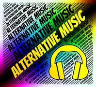 Alternative Music Means Sound Track And Alternates - stock illustration