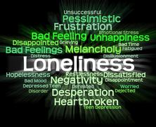 Loneliness Word Shows Unwanted Wordcloud And Wordclouds - stock illustration