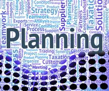 Planning Word Represents Words Missions And Objective - stock illustration