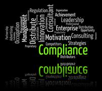 Stock Illustration of Compliance Word Shows Agree To And Agreement