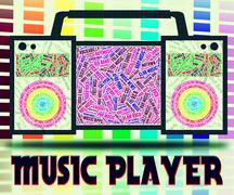 Music Player Indicates Sound Tracks And Acoustic Piirros