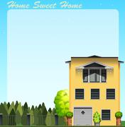 Home sweet home at daytime - stock illustration