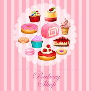 Different kind of desserts in pink - stock illustration