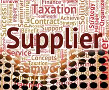 Supplier Word Means Middleman Merchant And Wholesale - stock illustration