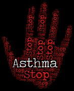 Stop Asthma Indicates Warning Sign And Asthmatic Piirros