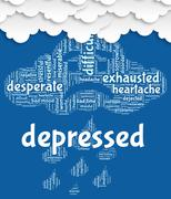 Depressed Word Represents Lost Hope And Anxious Stock Illustration