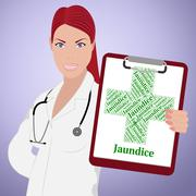 Jaundice Word Indicates Poor Health And Ailment - stock illustration