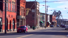 The old storefronts of Ashtabula, Ohio bring to mind another era in small town Stock Footage