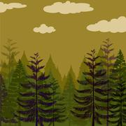 Pine forest and green sky - stock illustration