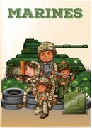 Marines fully armed and tank Stock Illustration