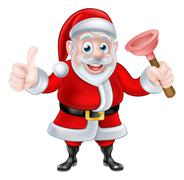 Cartoon Santa Giving Thumbs Up and Holding Plunger - stock illustration