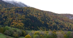 Autumn mountain landscape with a monastery Stock Footage