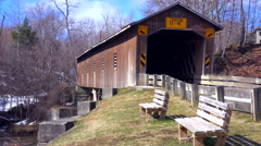 A covered bridge in Ashtabula County, Ohio. - stock footage