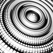 Concentric tubes shaded with grid pattern black white Stock Illustration