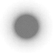 radial graphical black and white gradient in halftone style - stock illustration