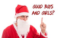 Santa Claus is to urge to Text Good Boys and Girls, isolated on white backgro - stock photo