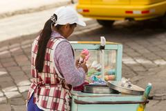 Ice Cream Seller While Modern Sanitation Laws Exists Local Authorities Does Not Stock Photos