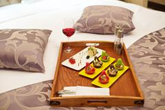 Canapé appetizer in bed Stock Photos
