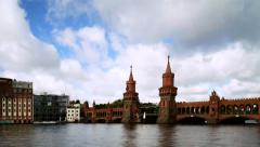 Oberbaumbruecke flying clouds time lapse. Stock Footage