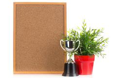 Wood board and Champion cup Stock Photos