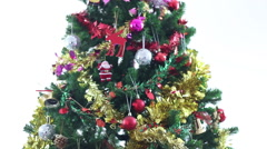 HD footage close up of Christmas tree, till down Stock Footage