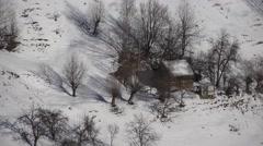 Stock Video Footage of 4K Snow, Winter, Mountain Village View, Conifer Forest, Fir, Alpine Landscape
