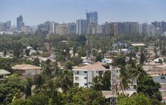 City skyline from suburbs, Dar es Salaam, Tanzania, East Africa, Africa - stock photo
