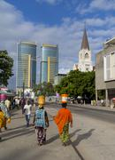 Waterfront road and St. Joseph's Cathedral, Dar es Salaam, Tanzania, East Stock Photos