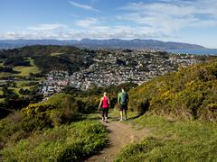 Suburbs and Rimutaka Ranges from Kingston with couple on walking track, - stock photo