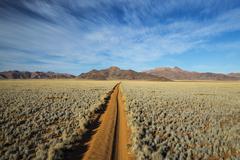 Straight track through the Namib Desert, Namibia, Africa Stock Photos