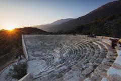 Antiphellos ruins, Lycian amphitheatre at sunset, Kas, Lycia, Turquoise Coast, Stock Photos