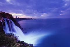Duden Kiyi Selalesi Waterfall falling directly into the sea, Antalya, Pamphylia, Stock Photos