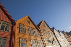 Stock Photo of Traditional wooden buildings, Bergen, UNESCO World Heritage Site, Norway,