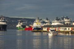 Stock Photo of Ships in dock, Bergen, Norway, Scandinavia, Europe