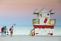 Life guard beach hut, South Beach, Miami Beach, Florida, United States of Stock Photos