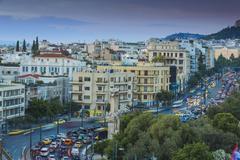 View of Leoforos Vasilissis Amalias towards Lykavittos Hill, Athens, Greece, - stock photo