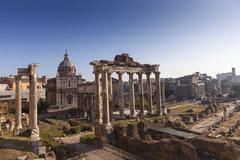 Temple di Saturno, The Roman Forum, UNESCO World Heritage Site, Rome, Lazio, Stock Photos