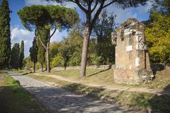 Ancient Appian Way, ancient Roman road, Rome, Lazio, Italy, Europe Stock Photos