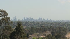 City view then zooms in Stock Footage