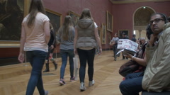 Crowd at Paris Louvre museum Stock Footage