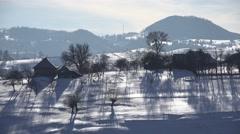 4K Snow, Winter, Mountain Village View, Conifer Forest, Fir, Alpine Landscape Arkistovideo
