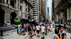 Visitors and the Charging Bull of Wall Street, Manhattan, New York City Stock Footage